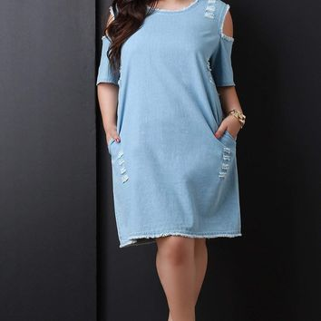 Frayed Denim Cold Shoulder Shift Dress
