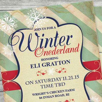 Winter Onederland Boy First Birthday Party Invitation or Baby Shower ~ Red, Blue, Snowflake, Double Sided, Wintery, Wintertime Snow Much Fun