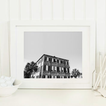 Charleston printable, black & white digital download, southern architecture, old brick building, travel, high contrast, wall art, home decor