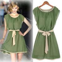 Sleeveless A-Line Chiffon Drawstring Dress