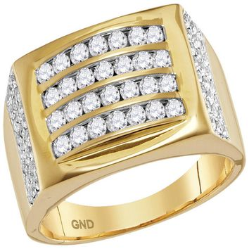 14kt Yellow Gold Mens Round Diamond Arched Square Cluster Ring 1-1/3 Cttw