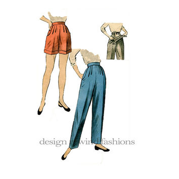 1950s MATERNITY PANTS & SHORTS with Adjustable Front Panel for Easy Fit as You Grow Waist 24 Advance 6402 Vintage Women's Sewing Patterns