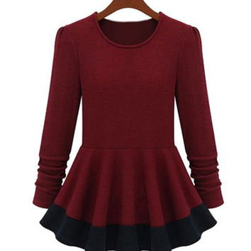 Color Block Long Sleeve Flounce Knitwear