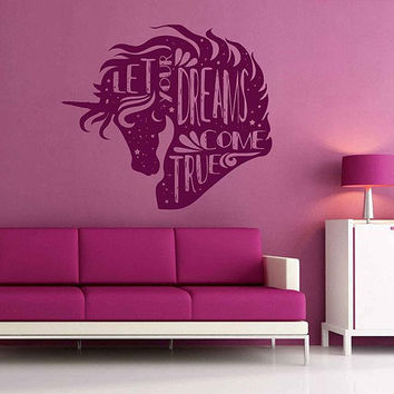 unicorn quote wall decal Unicorn Wall Sticker Vinyl Decal unicorn Decal ik3479