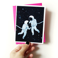 Chance Encounter - cute blank greeting card with envelope - space sci fi love