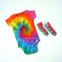 12 month Rainbow Tie Dye Onesuit and Sock Set- Baby Shower Gift