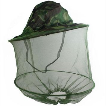 ICIK272 Camouflage Mosquito Cap Women Men Midge Fly Insect Bucket Hat Fishing Camping Field Jungle Mask Face Protect Cap Mesh Cover
