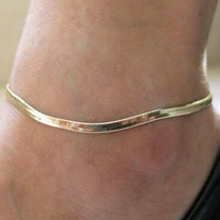 Foreign Woman Sexy Thin Metal Chain Anklets Scale / Upscale Beach Sandals Snake Bone Chain Bracelet Foot Jewelry  Tobillera