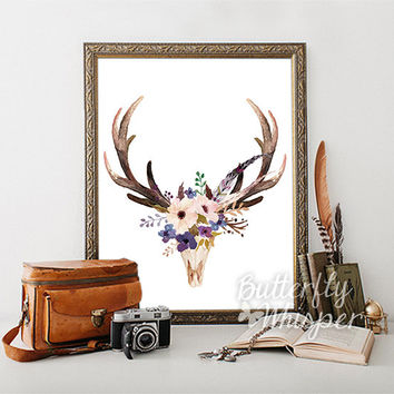 Printable woman gift, Deer skull print with flowers, Bohemian wall art, Antlers wall decor, Boho chic print, Adventute wild art print decor