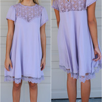 Night Walk Liliac Bodice Dress With Scallop Lace Hem