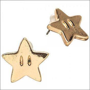 Nintendo Super Mario Bros Star Costume Cosplay Earrings Jewelry LICENSED NEW