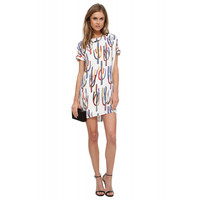 Cactus Color Print Sleeve Cutout Shift Mini Dress