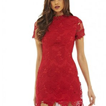 Red High Neck Short Sleeve Lace Mini Dress