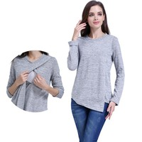 2018 Elegant Maternity Clothes long sleeve Maternity tops Nursing Tee Breastfeeding Clothes for Pregnant Women T-shirt A0075