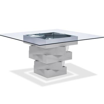 Carson Dining Table high gloss gray lacquer geometric base with mirrors