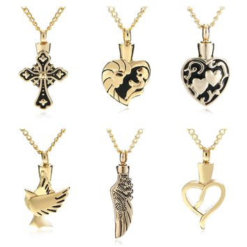 Charms Love Heart Necklace Memorial Cremation Ashes Urn Necklace Locket Pendant Bone Ash Necklaces For Men Women Jewelry