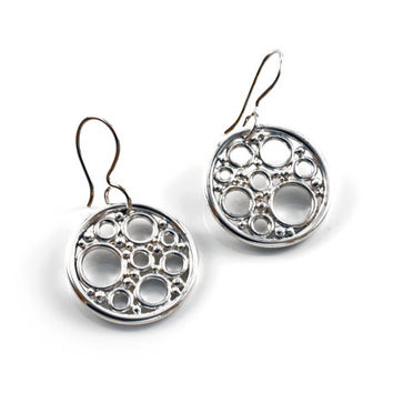 Pomegranate earrings handmade in solid sterling silver , flat circle and silver bubble earrings , silver art jewelry seed cluster earrings