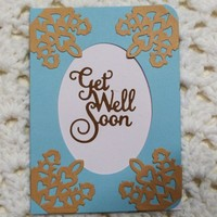 Get Well Soon Greeting  Card Tan & Blue 4
