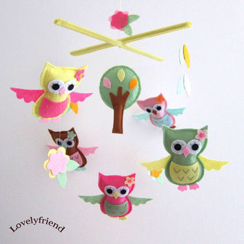 Owl Theme Crib Mobile Owls and tree Choose your by lovelyfriend