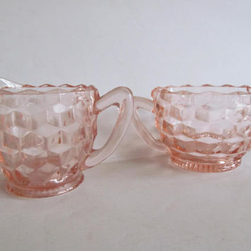 Sugar Cubes Lovely Vintage 1933 Jeanette Pink Depression Glass Sugar and Creamer Set Pink Art Deco Glass Block Pattern Depression Glass Pink