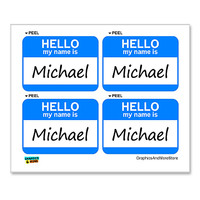 Michael Hello My Name Is - Sheet of 4 Stickers