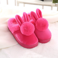 New Faux Rabbit Fur House Slippers Fashion Winter Warm Women Ear Indoor Slippers High Quality Soft Plush Ladies Home Shoes O1838