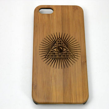 Illuminati Pyramid iPhone 5C Bamboo Case. The All Seeing Eye Symbol. Eco-Friendly Wood Cover Skin. FREE SHIPPING.