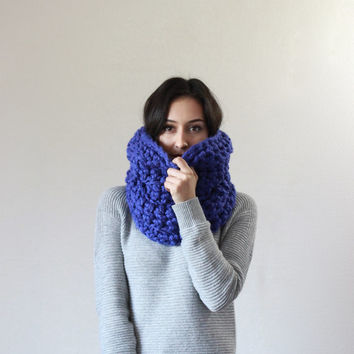 The Montpellier, chunky cowl infinity snood scarf - COBALT