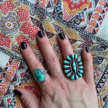 Petite point turquoise ring/ vintage native style silver and turquoise ring/ large boho bohemian statement ring size 6.25-6.5