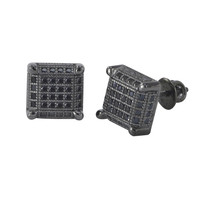 Mens Womens Screwback Stud Earrings Micropave Black Cubic Zirconia 9mm Square 3d