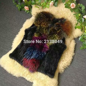 SF0151 Real Genuine Natural Rabbit Fur Vest with Big Colorful Raccoon Dog Fur Collar/ Collar Fur Vest