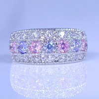80% OFF Female Pink Purple Zircon Ring 925 Silver Filled Promise Engagement Rings For Women Crystal Fashion Jewelry