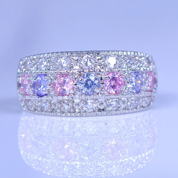 80% OFF ! Female Pink Purple Zircon Ring 925 Silver Filled Promise Engagement Rings For Women Crystal Fashion Jewelry