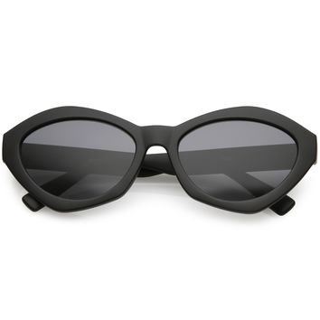 Women's Retro Modern Oval Flat Lens Sunglasses C603