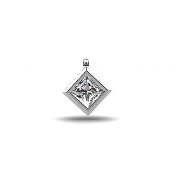 0.35ct princess cut diamond pendant, white gold, yellow gold, bezel pendant, diamond pendant, diamond necklace, unique, modern, simple