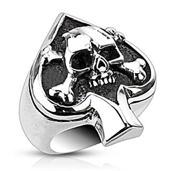 Spikes Stainless Steel Spade and Skull Biker Ring