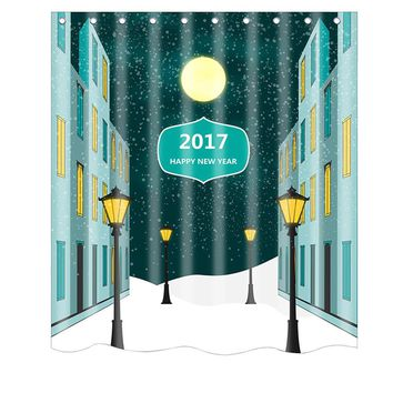 Christmas Waterproof Polyester Bathroom Shower Curtain Decor With Hooks New