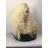 """Cool Long Blonde Waves Human Hair Blend Multi Parting Lace front wig 16"""""""