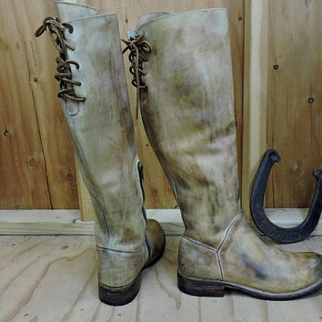 90s Bed Stu boots 8.5 / distressed leather knee high riding boots / Handcrafted Hand finished / Bed Stu riding boots / GravelStreetVintage