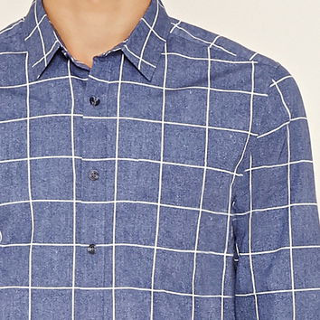 Grid Print Pocket Shirt