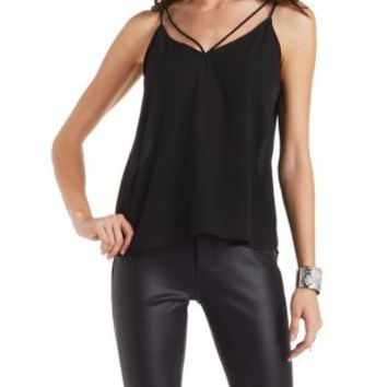 Black Strappy Caged Swing Tank Top by Charlotte Russe