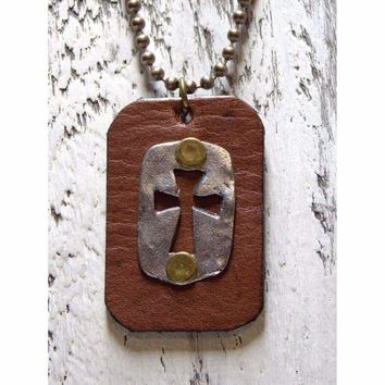 Mens Rustic Weathered Leather and Pewter Cross Necklace