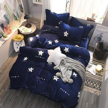 Luxury Fleece Bedding Sets King Queen Twin Size With Duvet Cover Bed Sheet 4pcs Children Kids Bedding Set Warm Winter Bed Linen