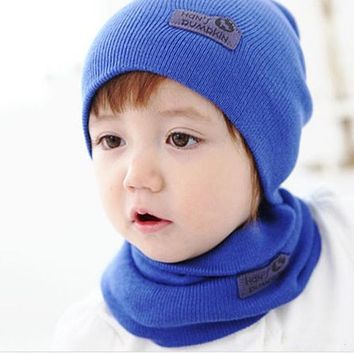CN-RUBR Candy Color Baby Hat Scarf Set Knitted Beanie Boys Girls Cap Crochet Kids Winter Warm Hats For 1-3 Years Accessories