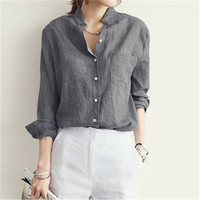 Sexy V Neck Women Blouse 2016 Spring Autumn Casual Long Sleeve Solid Pockets Cotton Tops Shirts Plus Size Blusas