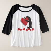 I Love You More! - Cute Penguin and Red Hearts Plus Size Raglan T-Shirt