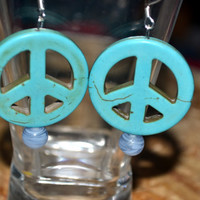 Earrings Blue Peace Sign Dangles