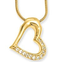 18 Inch Gold Plated Hollow Floating Heart CZ Necklace by Kelly Waters