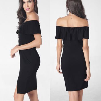 Fashion Sexy Off Shoulder Falbala Short Dress