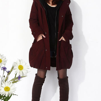 Maroon cotton thick women coat autumn jacket parkas loose casual blouse plus size dust coat windcheater outer coat windbreaker windcoat